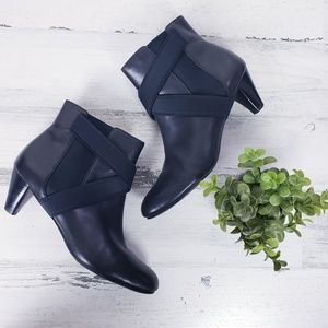 Cole Haan Black Elastic Cross Strap Heeled Bootie